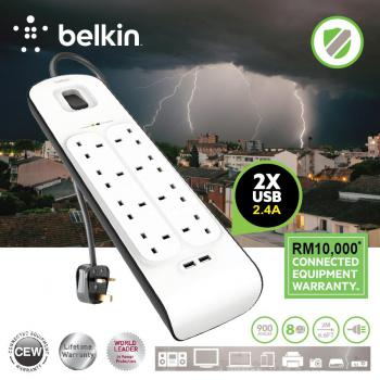 Belkin 8-Outlet 2-Meter Surge Protection Strip with 2 2.4A USB Charging (BSV804sa2m)