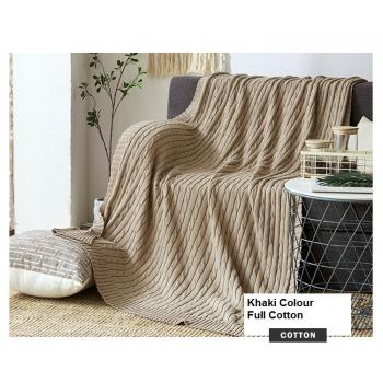 100% Knitted Full Cotton Blanket (Khaki) (120cm*180cm)