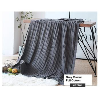 100% Knitted Full Cotton Blanket (Grey) (120cm*180cm)