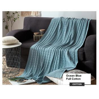 100% Knitted Full Cotton Blanket (Ocean Blue) (120cm*180cm)